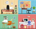 Cool graphic furniture set: tables, chairs, computers, notes, some furniture elements. Stylish interior design. Office furniture.