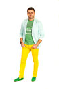 Cool guy in modern clothes isolated on white background Royalty Free Stock Photo