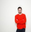 Cool guy standing with arms crossed Royalty Free Stock Photo