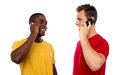 Cool guys communicating, looking at each other Royalty Free Stock Photo