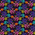 colorful swirls and dots in a repeating pattern
