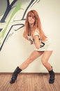 Cool hip hop dancer female redhair at the dance studio Royalty Free Stock Images