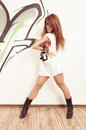 Cool hip hop dancer female redhair at the dance studio Royalty Free Stock Photography
