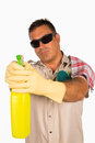 Cool househusband a latin man cleaning his home Stock Photo