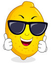 Cool lemon character with sunglasses a cartoon happy smiling thumbs up isolated on white background eps file available Royalty Free Stock Images