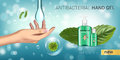 Cool mint flavor Antibacterial hand gel ads. Vector Illustration with antiseptic hand gel in bottles and mint leaves elements