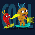 Cool monster to skateboard  graphic Royalty Free Stock Photo