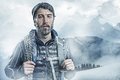 Cool montainer moutaineer in a snowy landscape Royalty Free Stock Images