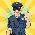 Cool Policeman. Serious Police Officer. Pop Art