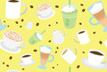 Cool Pretty Coffee Drinks Pattern Stock Photography