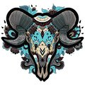Cool ram skull new year of the isolated on white background floral tattoo ornamental pattern vector illustration Royalty Free Stock Photography