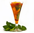 Cool refreshing drink fruit and lemonade in a glass garnished with mint leaves Royalty Free Stock Photography