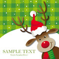 Cool reindeer greeting card with santa hat decorative background free surface Royalty Free Stock Photo