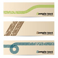 Cool retro banners with tire tracks Royalty Free Stock Photo