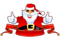 Cool Santa and Banner Royalty Free Stock Photos