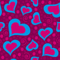 Cool seamless love heart pattern in violet and blue shades