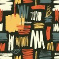 Cool seamless pattern with yellow, red, blue brushstrokes on black background. Vibrant backdrop with rough paint traces