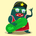 Cool skate monster graphic Royalty Free Stock Photo