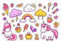 stock image of  Cool stickers set of cartoon characters, clouds, rainbow, magic elements.
