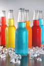 Cool summer drinks with ice on bright background Royalty Free Stock Images