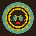 Cool sun with woman face in retro style.