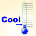 Cool thermometer shows thermostat frosty and coldness meaning frost measurement celsius Royalty Free Stock Photo