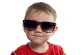 Cool toddler wearing sunglasses portrait of cute isolated on white Stock Photo