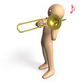 Cool trombonist solo player to play the trombone Royalty Free Stock Image