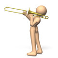 Cool trombonist solo player to play the trombone Royalty Free Stock Photos