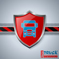 Cool truck badge with striped bar and tire tracks Royalty Free Stock Photo