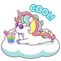 Cool unicorn with sunglasses drinking a rainbow cocktail on a cloud