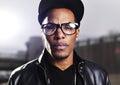 Cool urban african american man wearing glasses