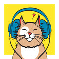 Cool vector art of cat with headphone. music picture, eps 10 on layers