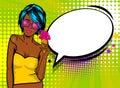 Cool woman pop art comic text speech baloon Royalty Free Stock Photo
