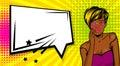 Cool woman pop art comic text speech box