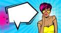 Cool woman pop art comic text speech bubble Royalty Free Stock Photo