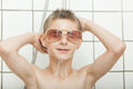 Cool young boy wearing trendy sunglasses Royalty Free Stock Photo