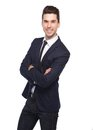 Cool young business man smiling with arms crossed Royalty Free Stock Photo