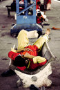 Coolie labour sleeping at Karachi Cantt Station Royalty Free Stock Photo
