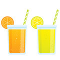 Cooling cartoon beverages cold refreshing drinks of orange and l Royalty Free Stock Photo