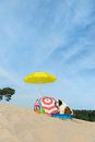 Cooling down for dog at the beach funny is having a with water and parasol in summer Stock Photo