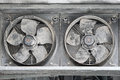 Cooling fans two industrial covered with dirt and dust Stock Photo