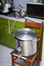 Cooling a Home-Brew Beer Wort using Tap Water and a Chiller Royalty Free Stock Photo