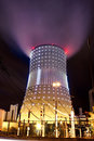 Cooling tower at night Royalty Free Stock Photography