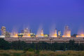 Cooling tower of oil refinery industrial plant at night, Thailan Royalty Free Stock Photo