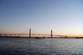 Cooper river bridge sunset sun setting over the near charleston south carolina Stock Image