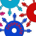 Cooperate Cogs Indicates Gear Wheel And Teamwork Royalty Free Stock Photo
