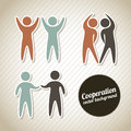 Cooperation icons silhouette of over vintage background Royalty Free Stock Photo