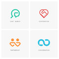 Cooperation logo set