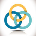 Cooperative symbol yellow blue turquoise colored rings Stock Photo